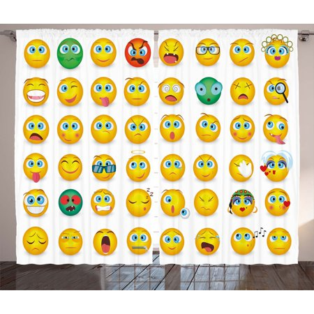 Emoji Curtains 2 Panels Set, Cartoon Like Smiley Faces of Mosters Girls Couple Happy Sad Angry Furious Moods Print, Window Drapes for Living Room Bedroom, 108W X 90L Inches, Multicolor, by Ambesonne