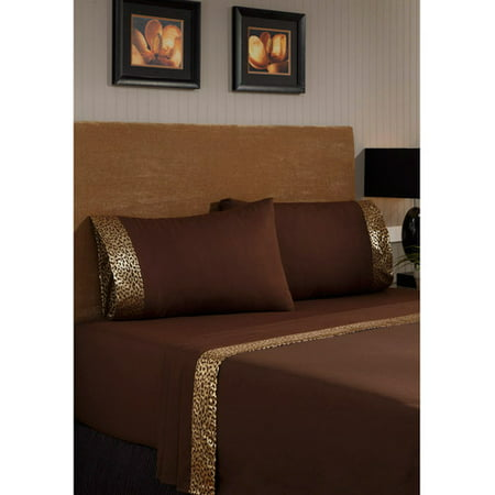 Image of Divatex Home Fashions Metallic Printed Bling Bedding Sheet Set, Leopard