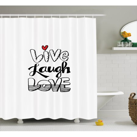 Live Laugh Love Shower Curtain Vintage Hand Drawn Quote With Different Style Graffiti Wall Art