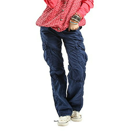 Boys Navy Linen Trousers (Women's Casual Cargo Pants Solid Military Army Styles Cotton Trousers Blue)