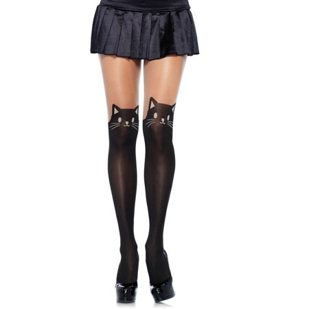 Black Cat Spandex Opaque Pantyhose With Sheer Thigh Accent, Black/Nude Halloween Costume Accessory
