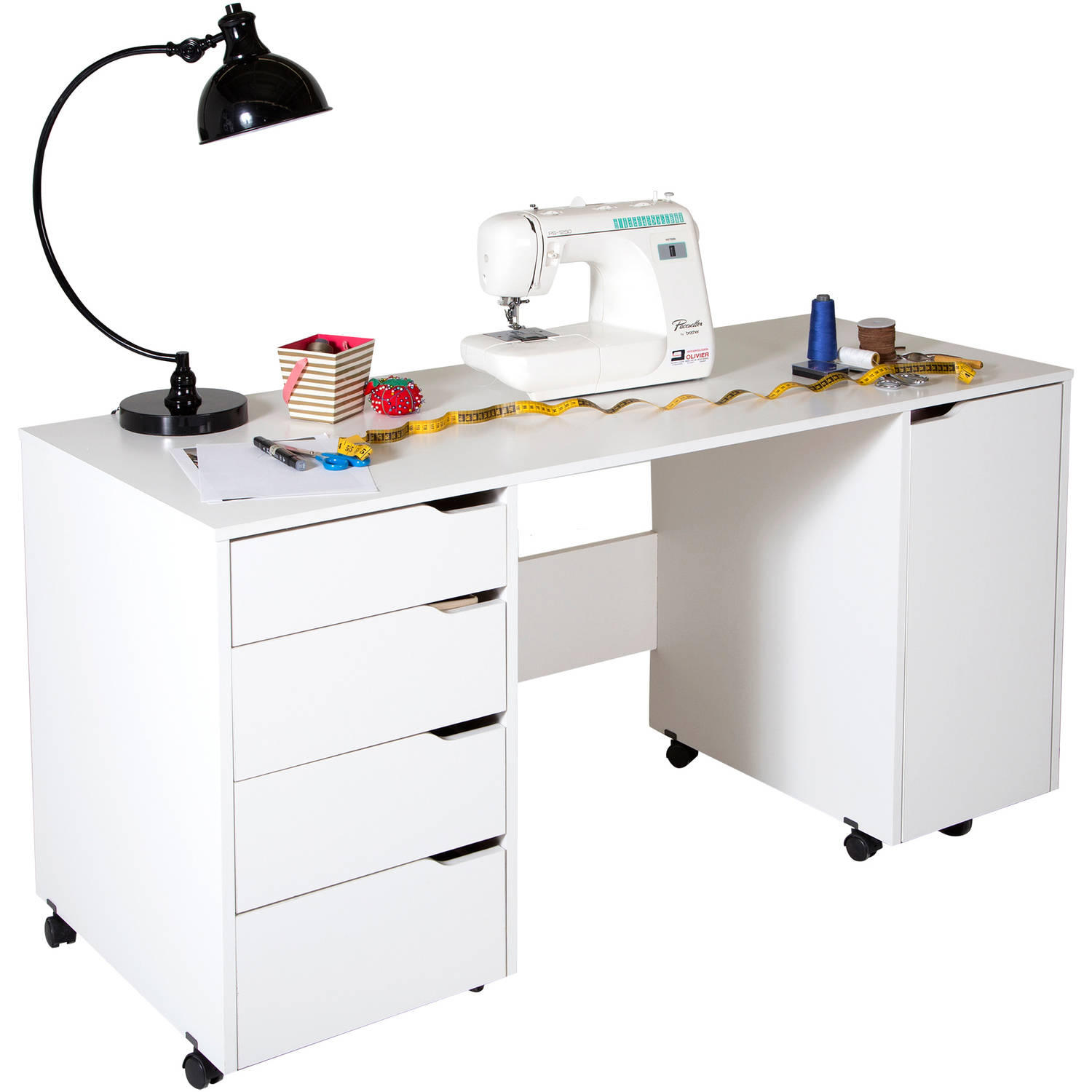 South Shore Crea Sewing Craft Table on Wheels, White