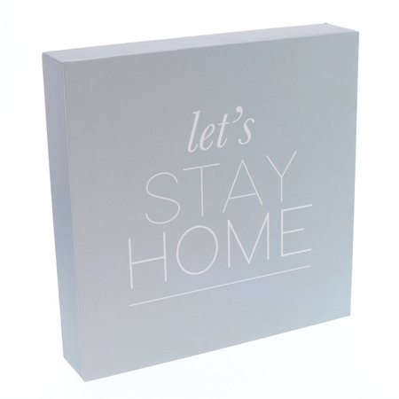 Barnyard Designs Let's Stay Home Box Sign, Modern Quote Home Decor Sign With Sayings 8