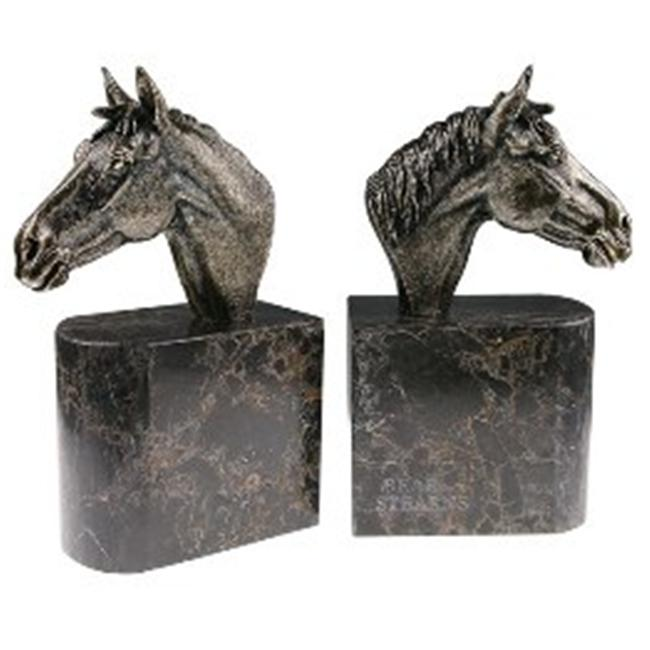 Bluestone Designs W931-Horsehead Jadestone Bookends Horsehead by Blue Stone Designs