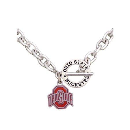 Ohio State Buckeyes Team Name Silver Toggle Red Charm Necklace Jewelry OSU (Osu Pendant)