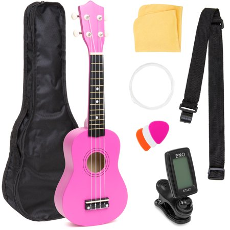 Best Choice Products Basswood Ukulele Musical Instrument Starter Kit w/ Waterproof Nylon Carrying Case, Strap, Picks, Cloth, Clip-On Tuner, Extra String - Pink - Fireflies Ukulele