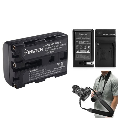 Insten 2 Battery+Charger for Sony NP-FM50 DSC-F717 DSLR+Strap (4-in-1 Accessory Bundle)