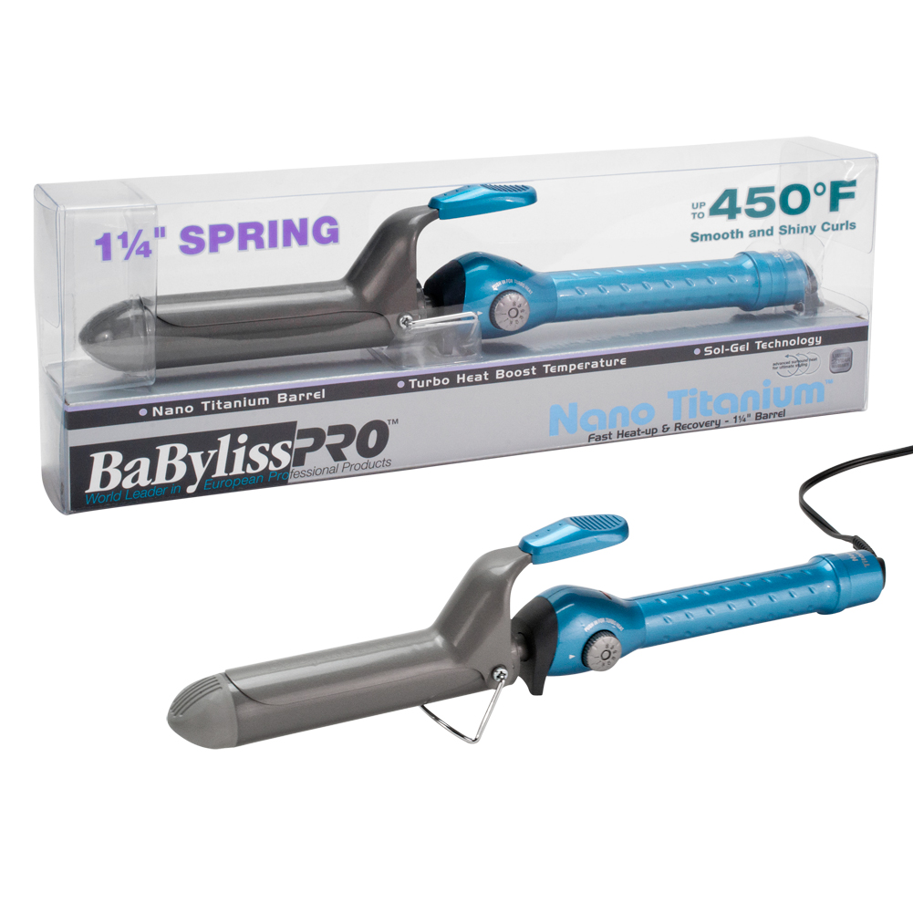 "BaByliss Pro 1 1/4"" Nano Titanium Spring Barrel Hair Curling Iron, BLUE, BABNT125S"