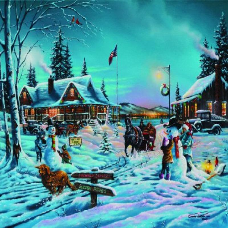 Winter Bliss 1000+pc Jigsaw Puzzle by Geno Peoples Multi-Colored