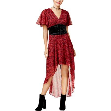 Disney Womens Juniors Snow White Chiffon Velvet Corset Maxi Dress