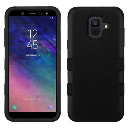 Samsung Galaxy A6 (2018 Model) Phone Case Tuff Hybrid Shockproof Impact Rubber Dual Layer Hard Soft Protective Hard Case Cover Rubberized Black Phone Case for Samsung Galaxy (Soft Rubberized Case Cover)