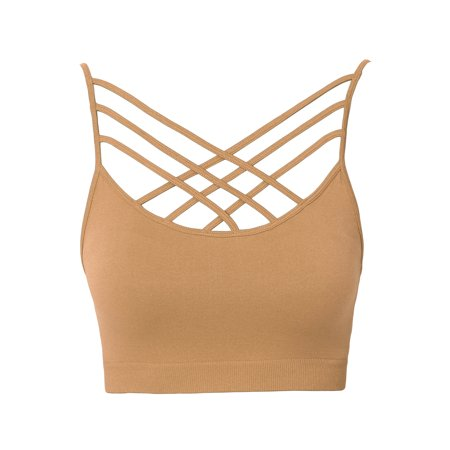 TheMogan Women's S~3XL Padded Criss Cross Strappy Bustier Crop Top Bralette Bra (Modal Bralette)