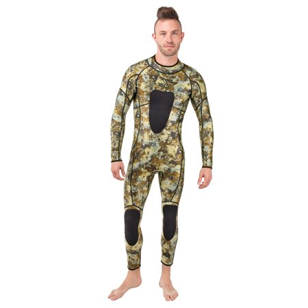 IST 3mm Camo Spearfishing Wetsuit | Camouflage Neoprene Suit With Speargun Pad - Medium