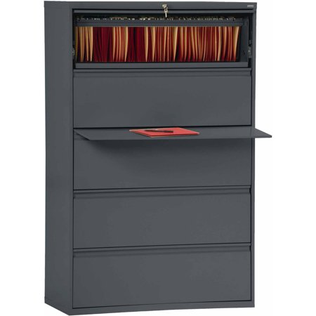 Sandusky Lee 800 Series 42″ 5-Drawer Full Pull Lateral File, Charcoal