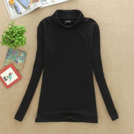 Female Casual Turtleneck Long Sleeves Solid Blousas Cotton Basic Shirts Tops For Women