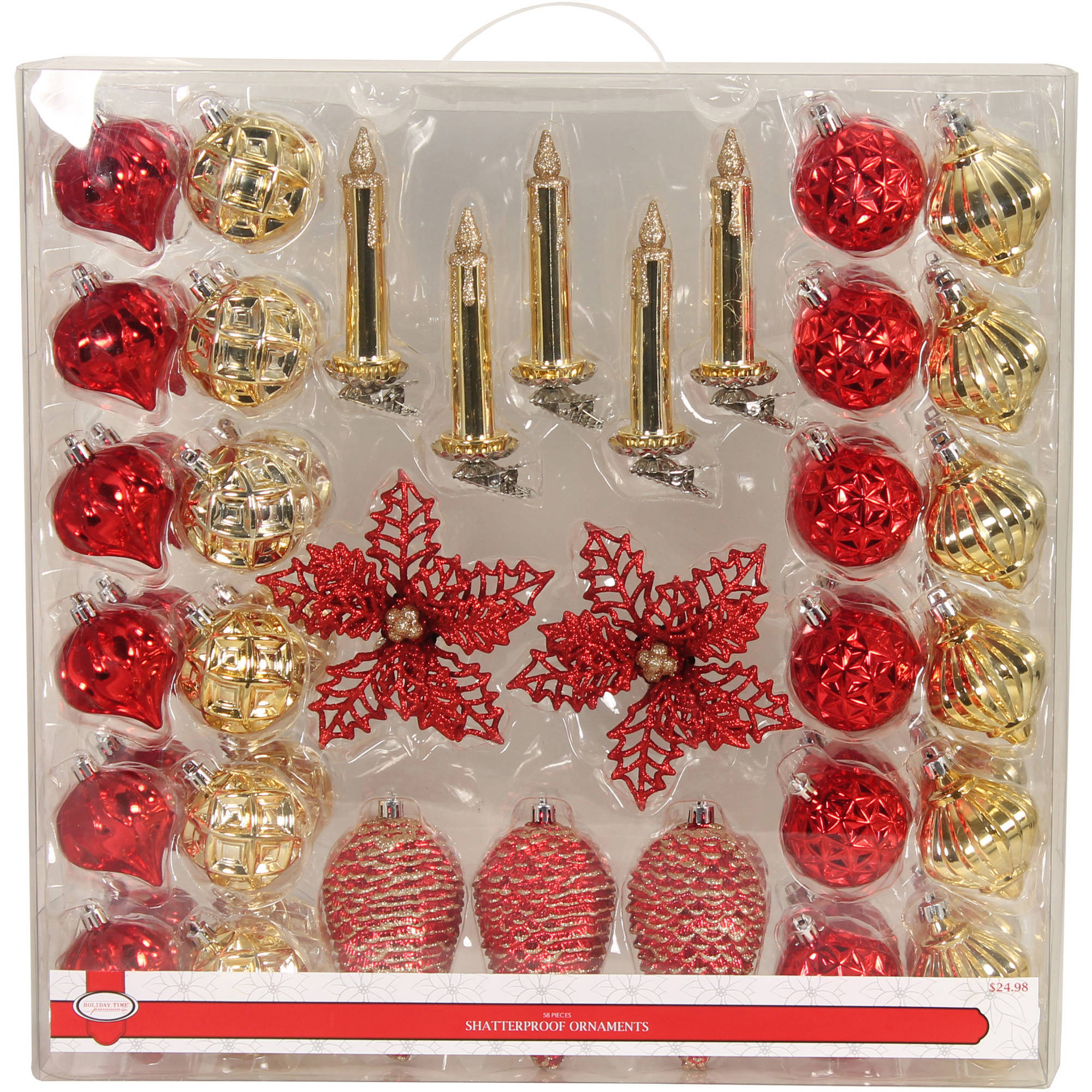 Holiday Time Red/Gold Shatterproof Ornament Suitcase, 58 Count