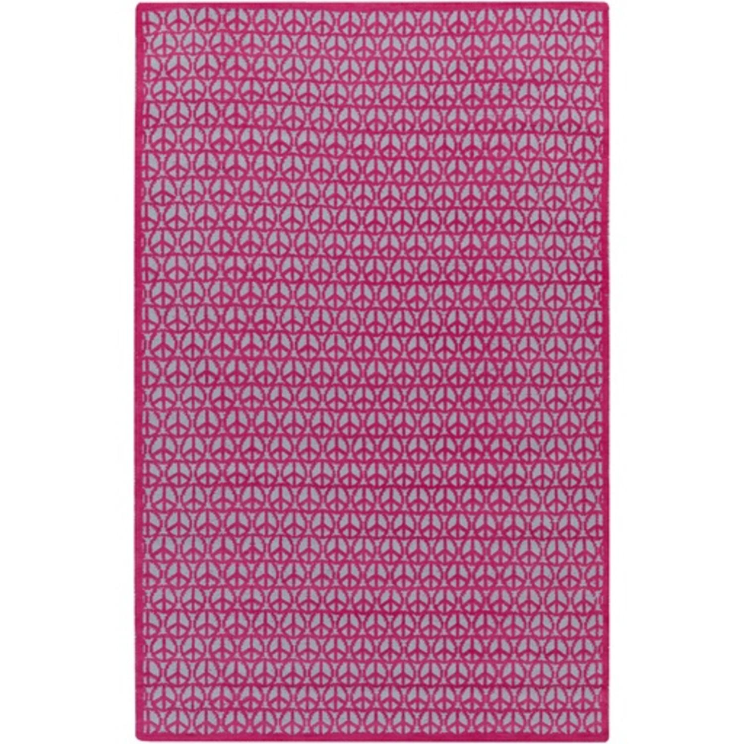 2' x 3' Land of Peace Hot Pink and Slate Gray Hand Woven Wool Area Throw Rug
