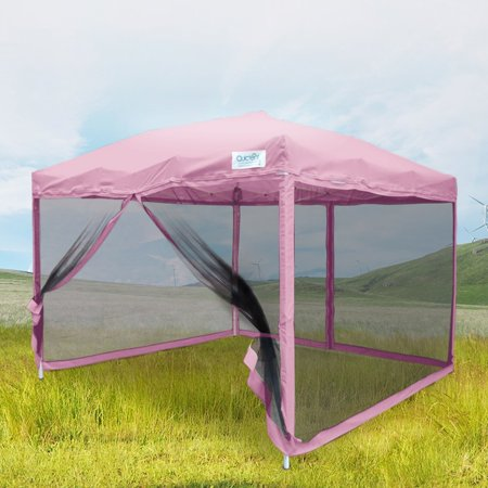 Quictent 8x8 Ez Pop up Canopy Screen House Tent with Netting Patio Gazebo Mesh Side Wall Pink ()