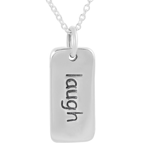 """Brinley Co. Sterling Silver Laugh"""" Tag Pendant, 18"""""""""""