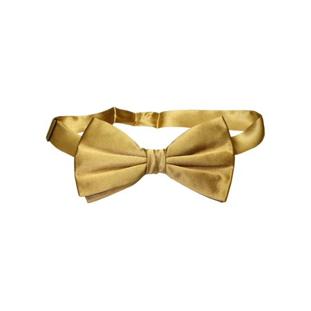 Circular Silk Tie - 100% SILK BOWTIE Solid GOLD Color Men's Bow Tie for Tuxedo or Suit