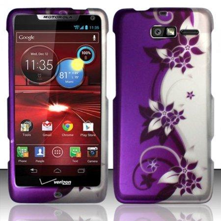 Razr Rubberized Snap (Design Rubberized Hard Case for Motorola Droid RAZR M XT907 - Purple Silver Vine )
