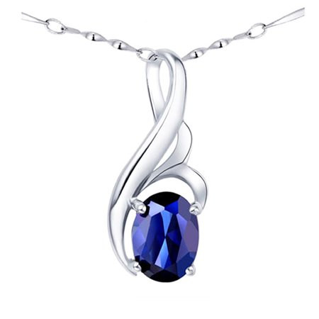 Cheap Blue Necklaces (Devuggo 0.75 Carat TCW Oval Cut Gemstone Created Blue Sapphire  925 Sterling Silver Pendant Necklace Gifts for Women with free 18