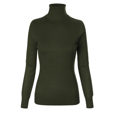 Made by Olivia Women's Basic Stretch Knit Long Sleeve Soft Turtle Neck Top Pullover Sweater Olive