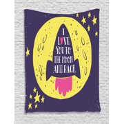 """Love Tapestry, Rocket Goes to the Space """"I Love You to the Moon and Back"""" Quote Stars Cute Design, Wall Hanging for Bedroom Living Room Dorm Decor, Yellow Indigo, by Ambesonne"""