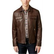 Tasso Elba Mens Leather Motorcycle Jacket, brown, XX-Large