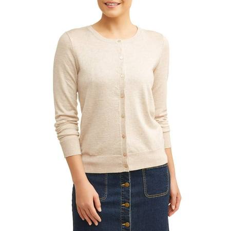 Button Crewneck Sweater (Women's Everyday Crew Neck Cardigan)