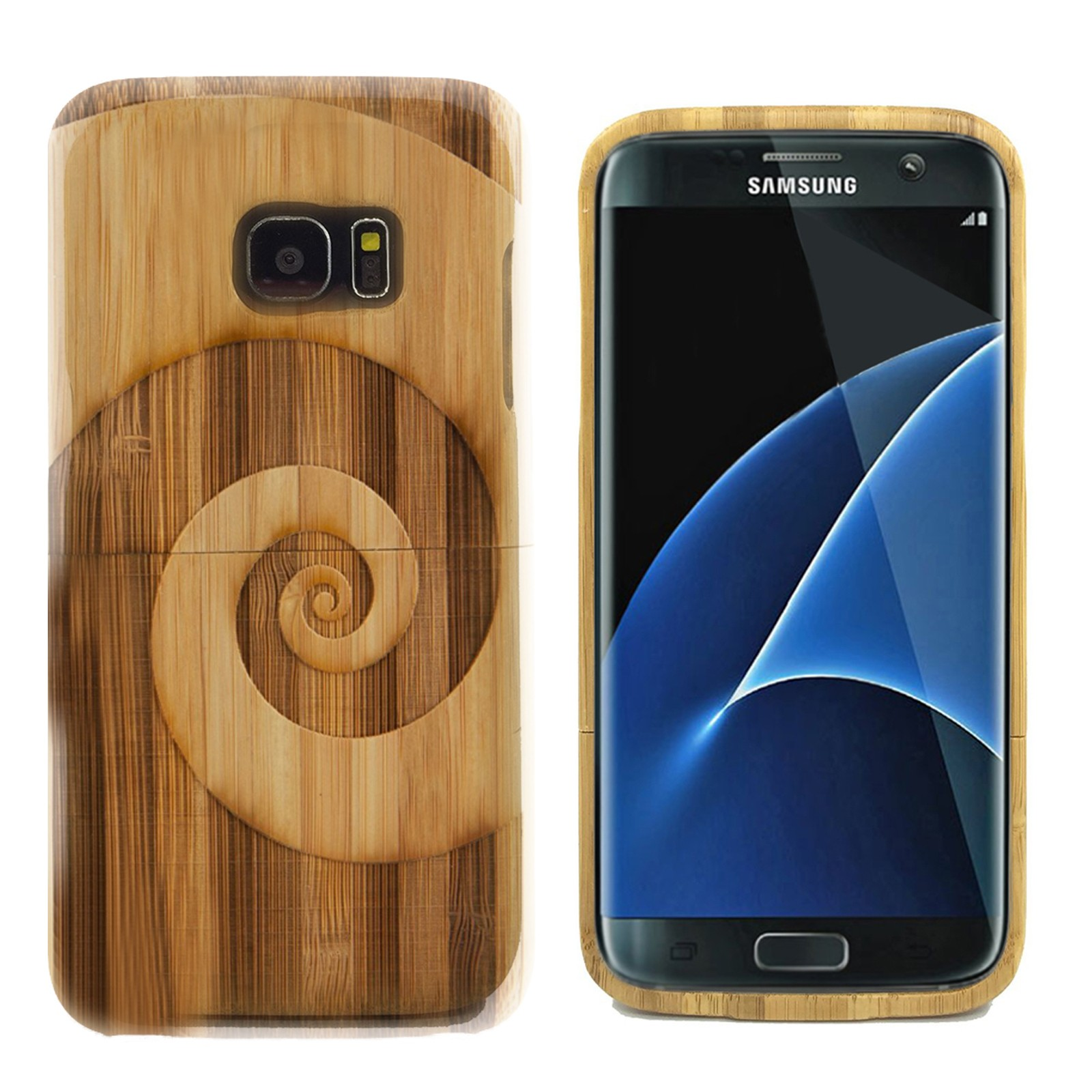 This natural bamboo case engraved with a Spiral will protect your Samsung Galaxy S7 Edge. Our state-of-art technology ensures that your design covers the entire case .