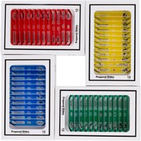 AmScope 48pc Kids Plastic Prepared Microscope Slides of Animals Insects Plants Flowers Sample Specimens New