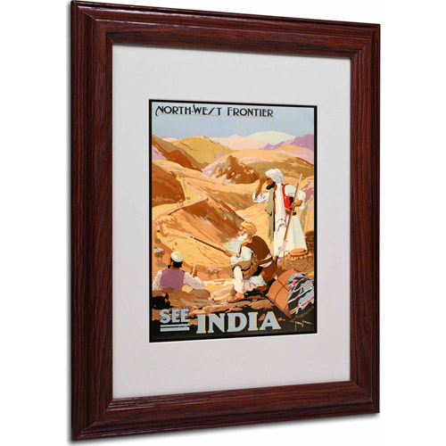 "Trademark Fine Art ""See India"" Matted Framed Art by Vintage Apple Collection, Wood Frame"