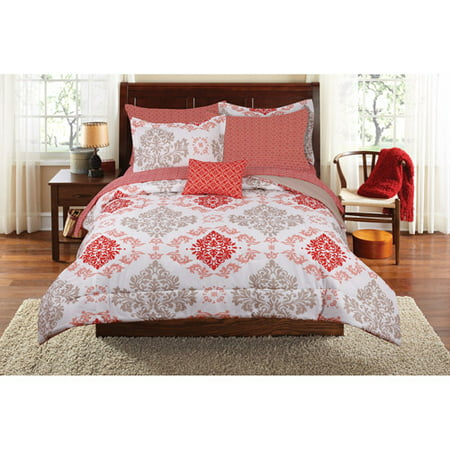 Mainstays Coral Damask Bed in a Bag Bedding