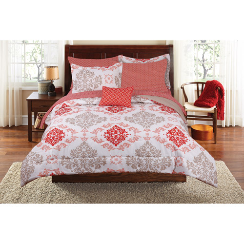 Mainstays Coral Damask Bed in a Bag Complete Bedding Set