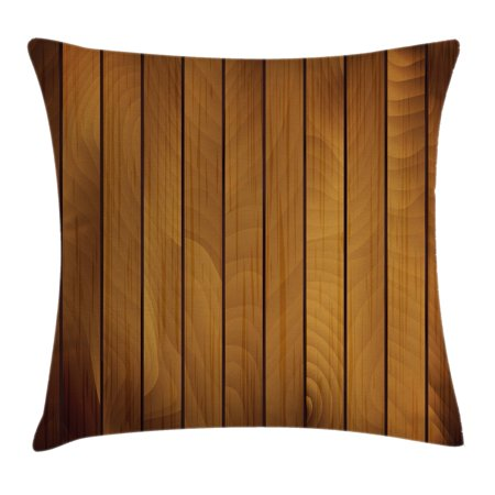 Brown Throw Pillow Cushion Cover, Wooden Plank Texture Tree Timber Floor Vintage Style Natural Illustration, Decorative Square Accent Pillow Case, 18 X 18 Inches, Dark Brown Light Brown, by Ambesonne