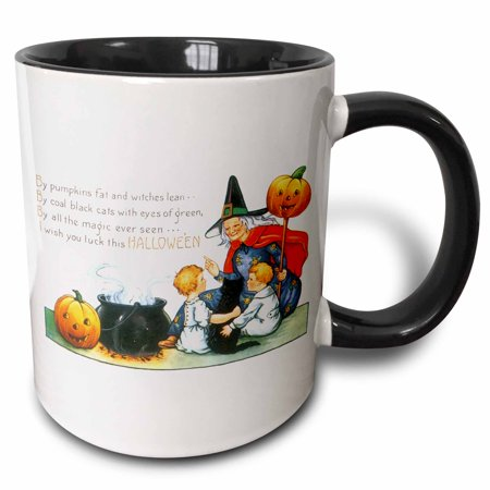 3dRose Vintage Halloween Witch with Little Children a Black Cat and a Steaming Cauldron - Two Tone Black Mug, 11-ounce