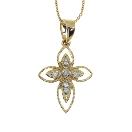 14K Yellow Gold Small Rope Diamond Cross with 18