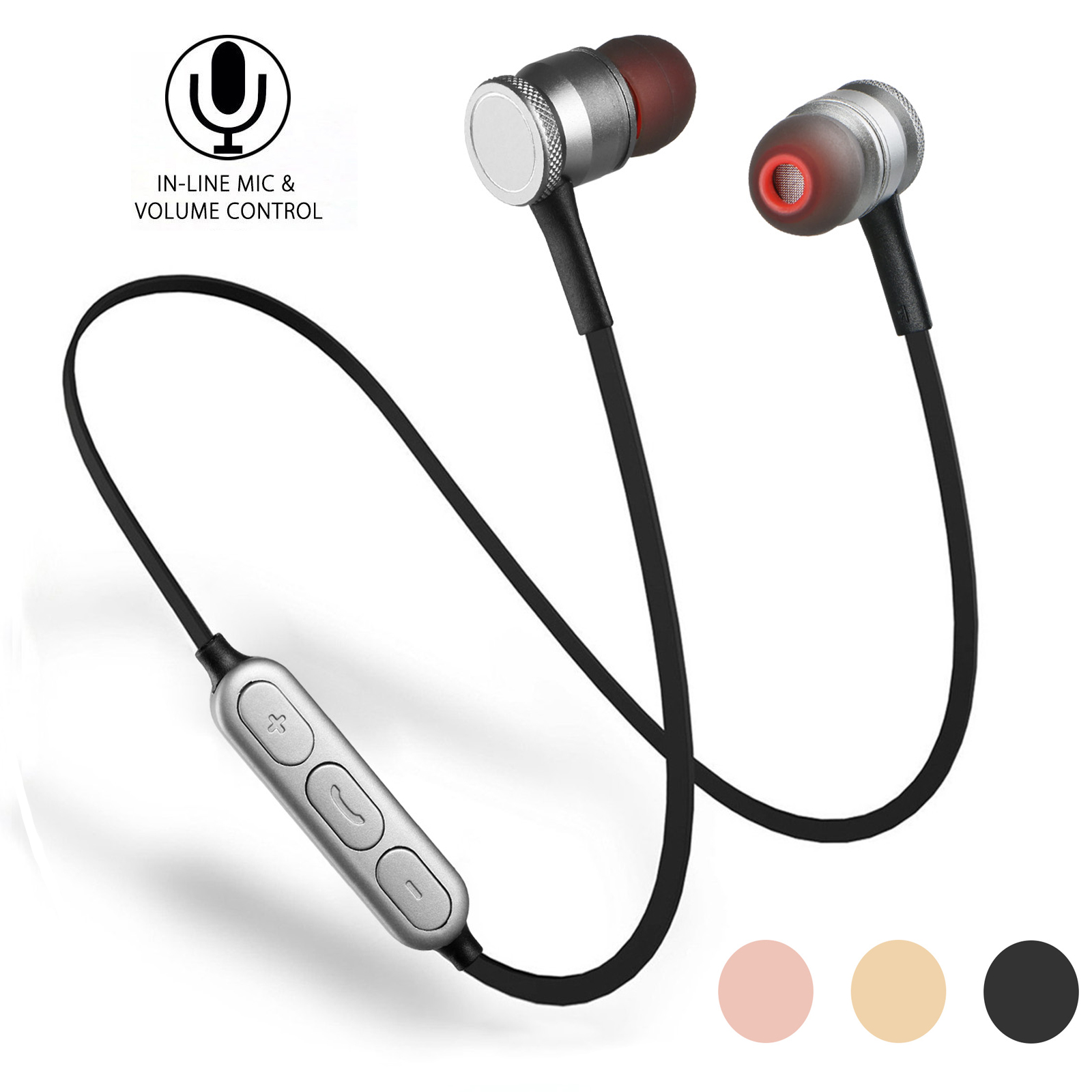 Wireless Earphones, EEEKit Universal Magnetic Wireless Bluetooth V4.0 Earbuds Sports In-Ear Stereo Headphones with Built-In Microphone for Smartphone, Tablets, PC