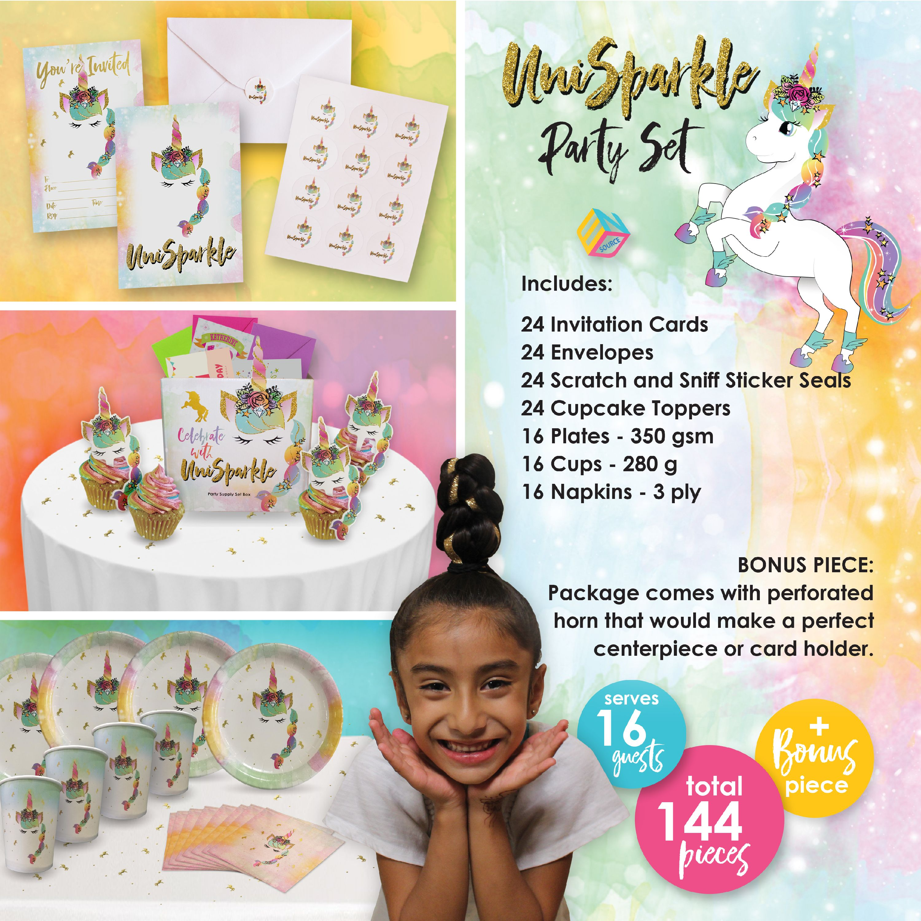 Cupcake Toppers Cups Scratch and Sniff Sticker Seals Unicorn Party Supplies| Invitation Cards w//Envelope 144 pieces of Magical Decorations and Tableware Perfect for All Occasions Paper Plates Napkins