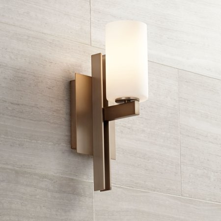 Possini Euro Design Modern Wall Light Sconce Burnished Brass Hardwired 14