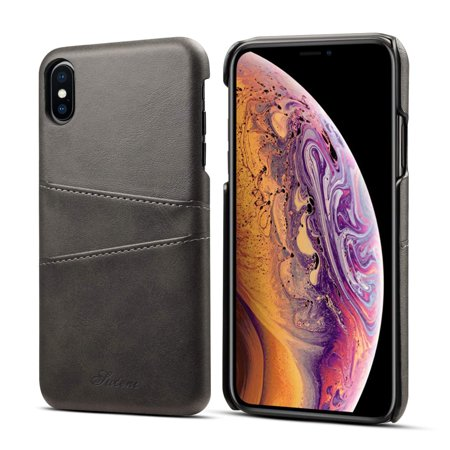 Mignova iPhone Xs/X Mobile Phone case, Ultra-Thin Retro Leather Texture Skillful case, with a Slot on The Back, Suitable for The iPhone Xs/X 5.8 inch 2018 (Black) ()