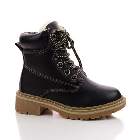 Broadway2K by Link, Children's Girl Lace Up Faux Fur Lined Work Ankle Boots Amber Leather Work Boots