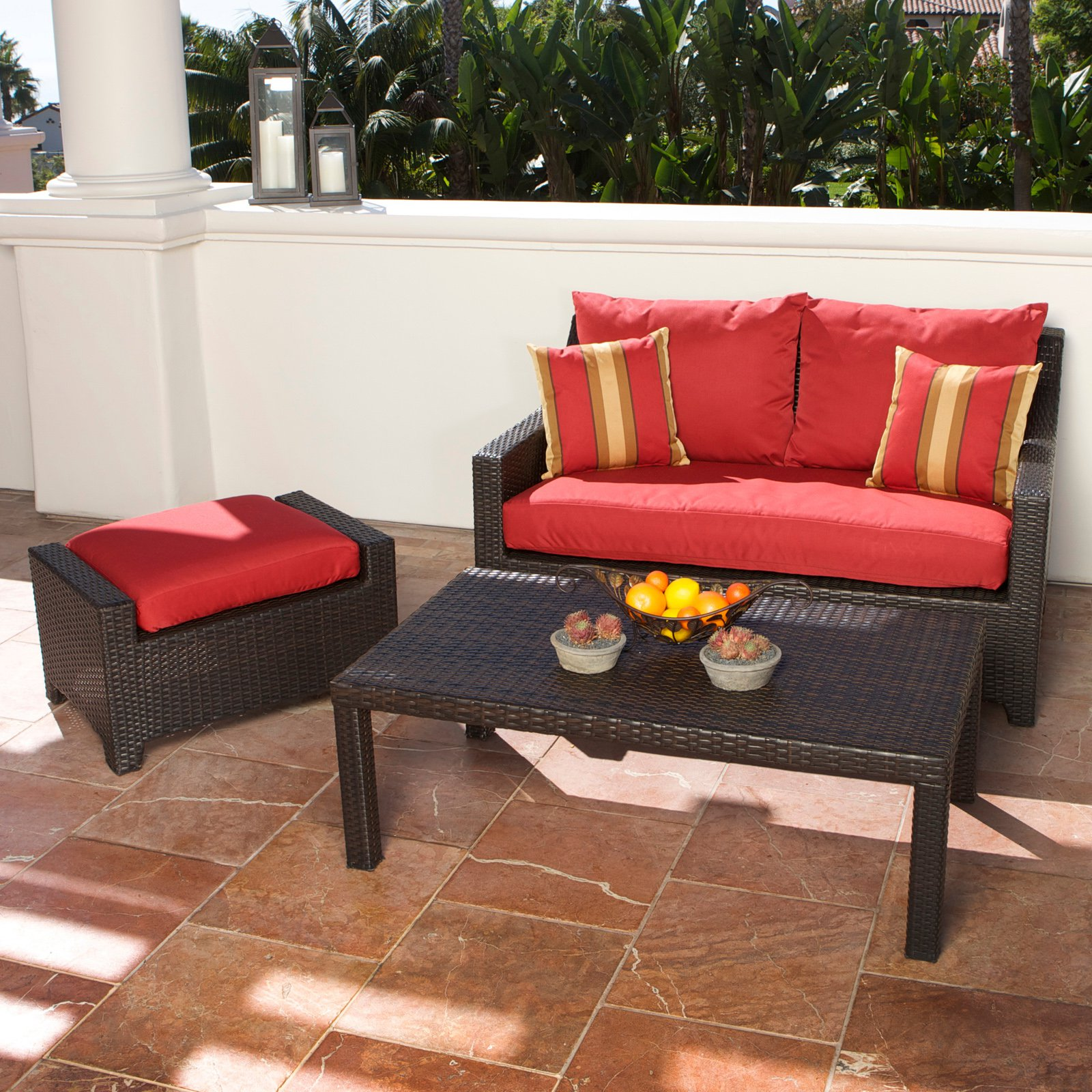RST Outdoor Cantina Loveseat and Ottoman with Coffee Table