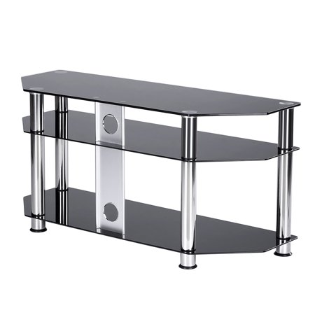 "5Rcom 3-Shelf Black Glass Floor Corner TV Stand with Chrome Legs for Most TVs up to 50"" TS2002A"