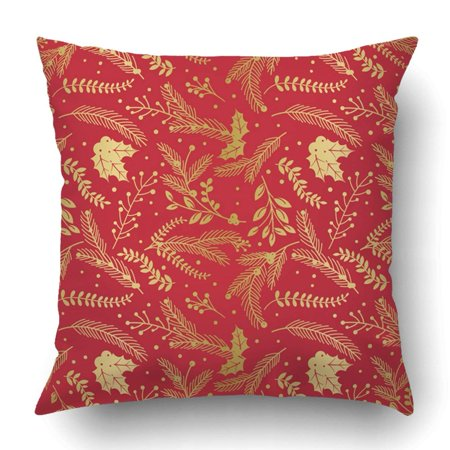 ARTJIA Faux Gold Foil Christmas Holiday Florals Pillowcase Throw Pillow Cover Case 20x20 inches ()