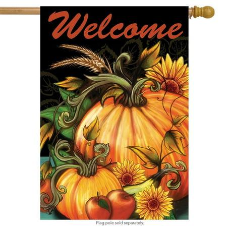 Autumn Harvest Welcome House Flag Pumpkin Sunflower 28