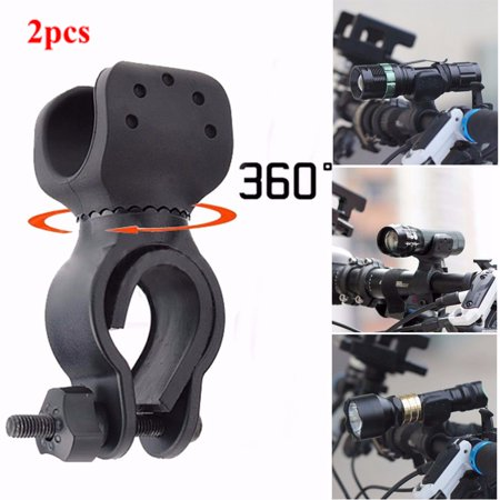 - 2-Pack 360° Rotation Bicycle LED Torch Lamp Flashlight Mount Bracket Holder Torch Clip