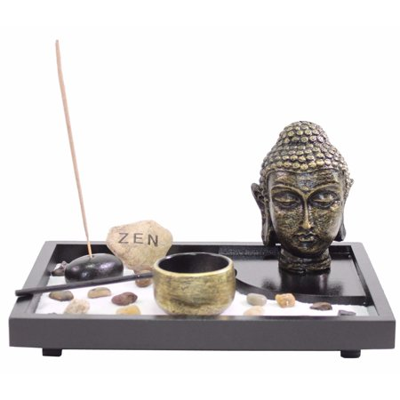 Tabletop Zen Garden Buddha Head Rock Rake Candle Holder Incense Burner Home Gift -D