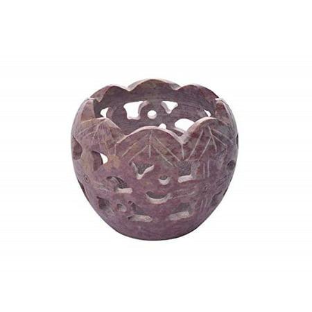 storeindya Diwali Gift Decoration Soapstone Tea Light Candle Holder Globe Jali Design Home Decor
